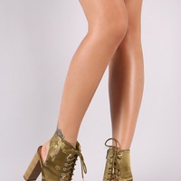 Speed Limit 98 Embroidery Feather Chunky Mule Heeled Booties