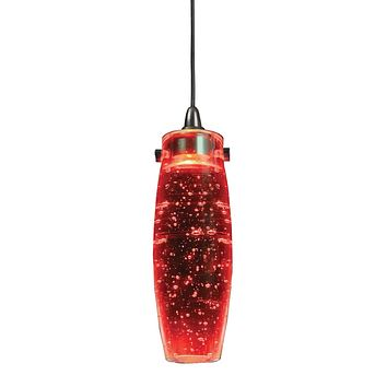1.2 Watt LED Hanging Ceiling Lamp with Pot Bellied Glass Shade, Red By Casagear Home