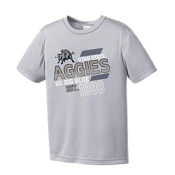 NCAA Utah State Aggies Youth Boys Offsides Short sleeve Polyester Competitor T-S
