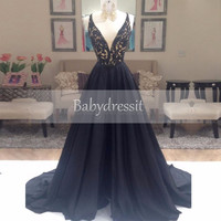 Gorgeous Black A Line Spaghetti Strap Beaded Backless V Neck Satin Elegant Prom Dresses 2017 Sheer Long Real Picture Prom Dress