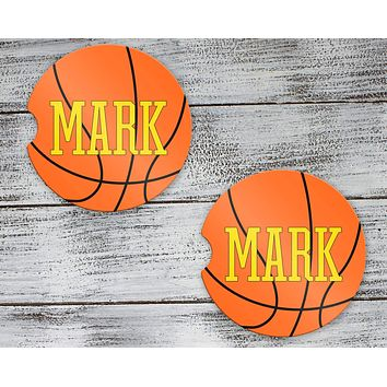 Personalized Car Coasters | Custom Car Accessories | Basketball | Set of 2