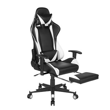 Homylin Leather Office Chair High Back Adjustable Height Armrest PU Computer Desk Gaming Chair for Home White