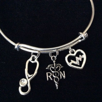 Heartbeat Registered Nurse RN Expandable Silver Bracelet Bangle Medical Occupational Charm Trendy