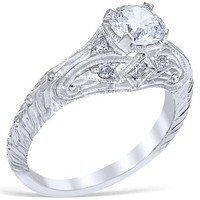 """Whitehouse Brothers """"Florin Leaf""""  Vintage Style Diamond Engagement Ring"""