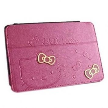 niceEshop Hot Pink Cute Hello Kitty With Stand Angle View Flip Leather Case Cover for Apple iPad Mini +Screen Protector