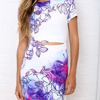 Floral Dress Spring - White Short Sleeve Flowery Beautifully Floral Print Bodycon Dress