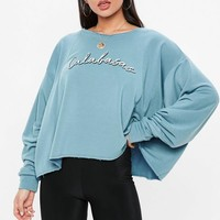 Missguided - Blue Calabasas Cropped Sweatshirt