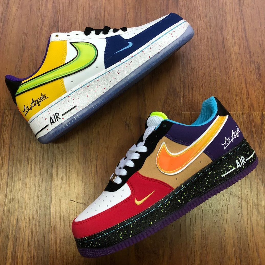 Image of Nike Air Force One stylish multi-color splice low-top casual sneakers for both men and women