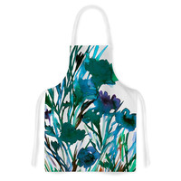 """Ebi Emporium """"Petal For Your Thoughts Teal"""" Turquoise Green Artistic Apron"""