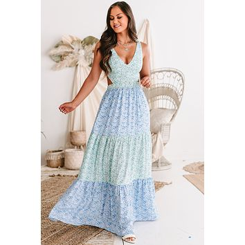 Bloomed To Perfection Tiered Floral Tie-Strap Maxi Dress (Green/Blue)