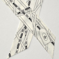 Fendi Silk Scarf White Black Twilly