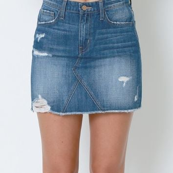 Good At Loving Denim Mini Skirt - Blue