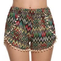 Summer Women's Fashion Tassels Print Beach Pants Shorts [8096402823]
