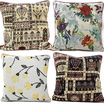 """DaDa Bedding Set of 4 Pieces - Floral Garden Botanical Tapestry Throw Pillow Covers Bundle Pack - 16"""" x 16"""""""