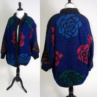 vtg 1980s Rose Floral print COCOON button down faux Leather trim sweater COAT oversized jumper shaggy draped cozy Pockets