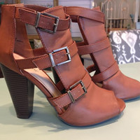 chestnut buckle bootie