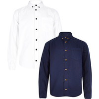 River Island Boys white and navy oxford shirt set 2 pack