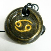 Cancer Zodiac Sign Necklace by  Whatsername Jewelry