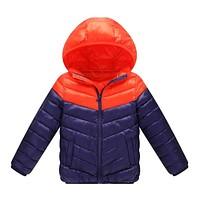 Kids Winter Jackets Cotton Casual Hooded Coat for Boys Girls Children Patchwork Colors Outwear