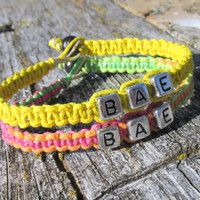 Neon and Yellow Couples or Friendship Bracelets, BAE, Before Anyone Else, Hemp Jewelry