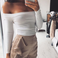 Women's Fashion Strapless Long Sleeve T-shirts [9052508164]