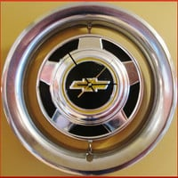 Large Chevy Pick Up Truck Bow Tie Hub Cap with Beauty Rim Repurposed into a Wall Clock for Man Cave Decor