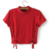 Red High Neck Lace Up Side Short Sleeve Cropped T-shirt