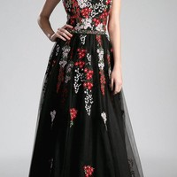 Black Embroidered Strapless Prom Gown A-line