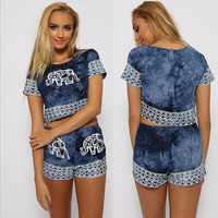Blue Elephant and Geometric Print Cropped Top and Shorts
