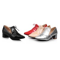 Pointed Toe Lace Up Pumps Platform High Heels Women Shoes 5002
