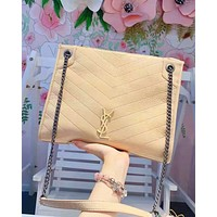 YSL fashion hot selling casual ladies zigzag line shoulder bag shopping bag