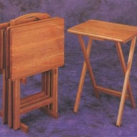 5 pc oak finish wood TV tray table set with stand
