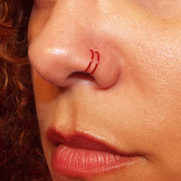 Tiny Red Double Nose Ring Lip Ring Fake Piercing