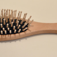 Large Hair Brush Oval Handle in Natural Wood