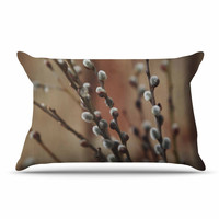 "Angie Turner ""Pussy Willows"" Brown White Pillow Sham"