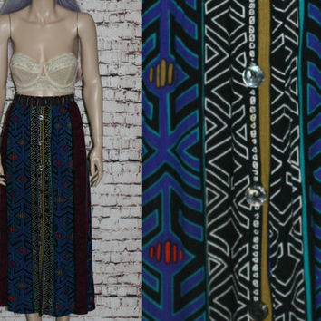 80s High Waist Maxi Skirt Tribal Black Bright Rayon Midi Grunge Hipster Witchy Boho Festival X Large Button Up Broomstick Crinkle