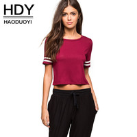 HDY Haoduoyi Crew-neck Crop Top T-shirt Casual Red Top Tees Short Sleeve Sexy Short Basic T-shirt
