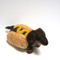 Hot dog, wiener dog, needle felted dachshund dog, funny puppy, sausage dog MADE TO ORDER
