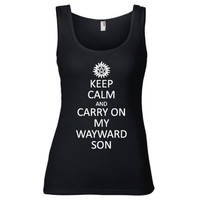 Supernatural Inspired Clothing - Keep Calm & Carry On My Wayward Son Semi-Fitted Tank - Ladies