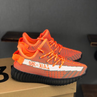 HCXX 19July 127 Adidas Yeezy Boost 350 V2 Flyknit Breathable Running Shoes orange black white