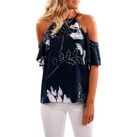 Fashion Summer Womens Blouses Sexy Floral Printed Tops