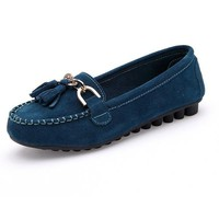 Women Casual Metal Buckle Loafers Flat Shoes