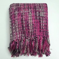 "NEW Cozelle Orchid 60"" x 50"" Purple Magenta Gray Tweed Woven Knit Throw Blanket"
