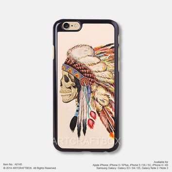 Tattoo indians Feather skull iPhone Case Black Hard case 145