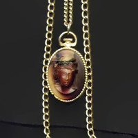 Dark Cameo Necklace, Three XL Long, Textured Chains, Gold Tone Setting, Resin, Browns, Acrylic, Vintage, Costume Jewelry