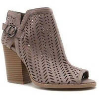 Peep Toe Perforated Bootie - Taupe