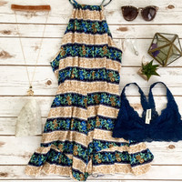 Floral Romp in Camel and Navy