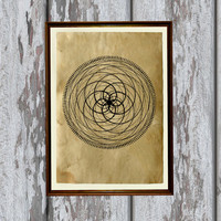 Mandala decoration Sacred geometry print Esoteric poster 8.3 x 11.7 inches