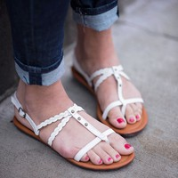 Braid My Day White Sandals