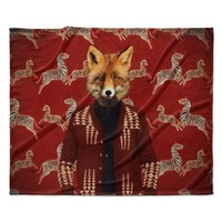 "Natt ""Family Portrait N1"" Red Fox Fleece Throw Blanket"